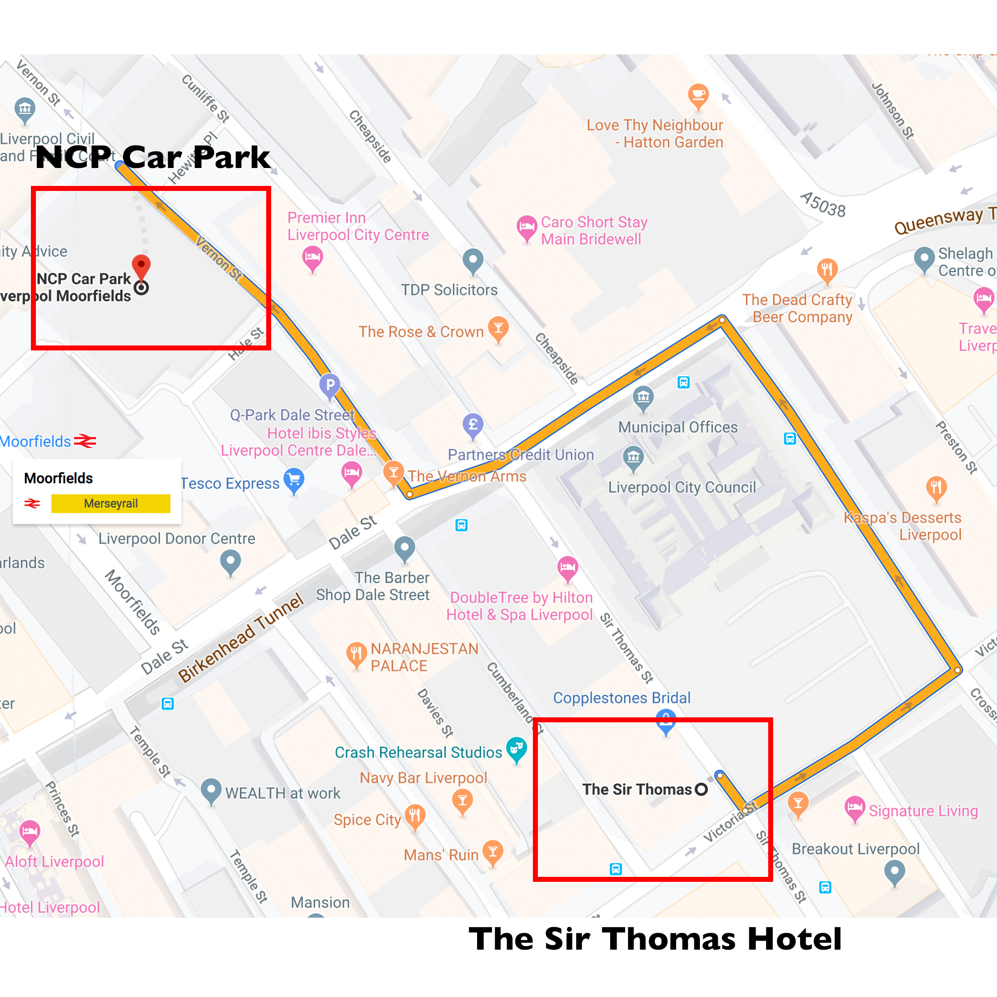 NCP Carpark Directions - The Sir Thomas